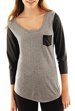 JCPenney Faux Leather-Trimmed V-Neck Tee