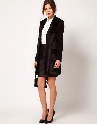 Warehouse Fur Front Tailored Coat
