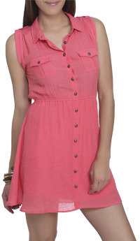 Wet Seal WetSeal Crinkled Woven Shirt Dress Living Coral
