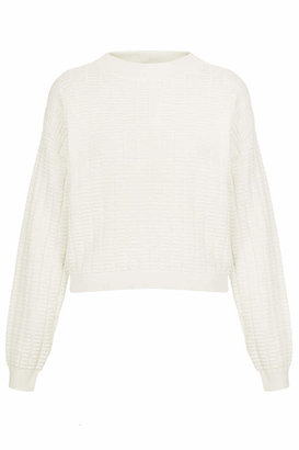 Topshop Cream sweater with all-over ridge stitch detail. 91% cotton, 9% nylon. machine washable.
