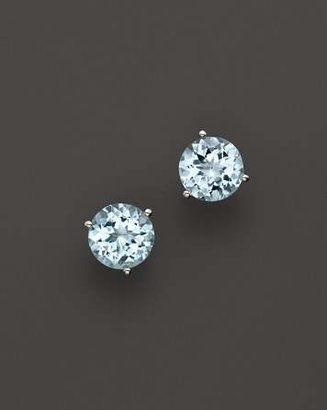 Bloomingdale's Aquamarine Round Earrings in 14K White Gold - 100% Exclusive