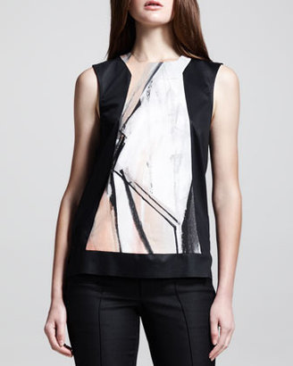 Helmut Lang Sleeveless Printed-Panel Top