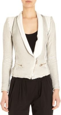 IRO Sequin Leather Lapel Zip Blazer