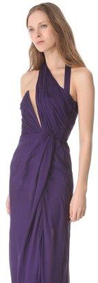 Alberta Ferretti Collection Chiffon Wraparound Cutout Gown