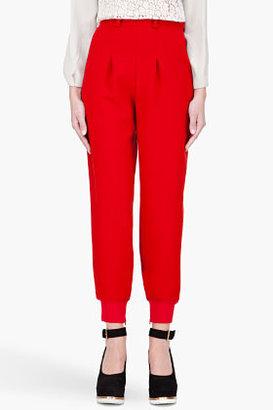 Chloé Red High Waisted Wool Lounge Pants