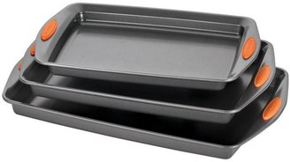 Rachael Ray Yum-o! Nonstick Bakeware 3-Piece Oven Lovin' Cookie Pan Set in Gray with Orange Silicone Grips