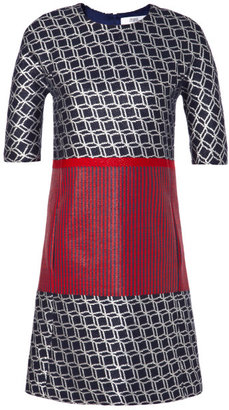 Prabal Gurung Preorder Geometric And Stripe Tweed A-Line Shift Dress