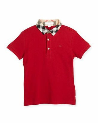 Burberry William Check-Collar Polo, Military Red, 4Y-10Y $80 thestylecure.com