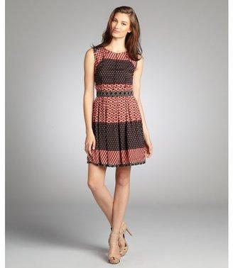 ABS by Allen Schwartz brick red mix print sleeveless dress