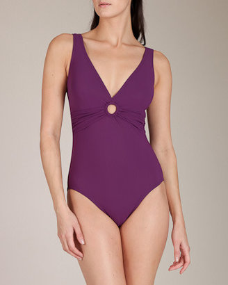Karla Colletto Basic Key Hole V-Neck Swimsuit