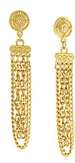 1928 Signature Cleopatra Medallion Post Chain Drop Earrings