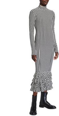 Norma Kamali Houndstooth Fishtail Ruffle Hem Turtleneck Dress