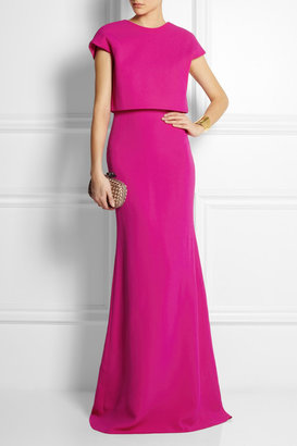 Victoria Beckham Cropped-overlay wool and silk-blend gown