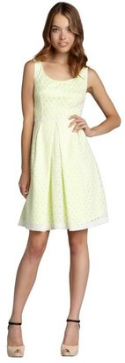 Tahari joey white and lemoncello lace 'Jenny' scoop neck dress