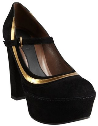 Marni black and gold suede mary jane platform pumps