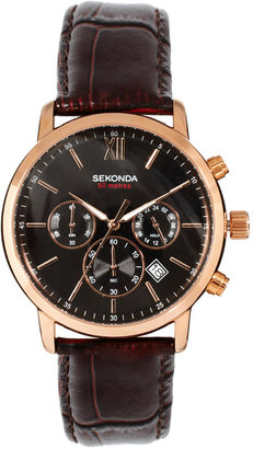 Sekonda Chronograph Leather Strap Watch