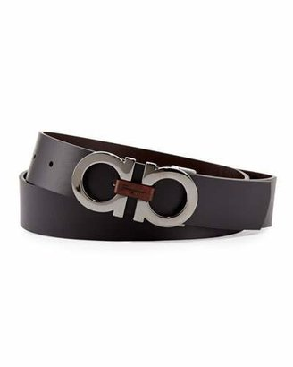 Salvatore Ferragamo Men's Reversible Double-Gancini Belt, Black/Brown