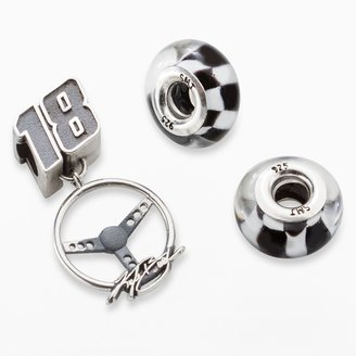 """Insignia Collection NASCAR Kyle Busch Sterling Silver """"18"""" Steering Wheel Charm & Checkered Flag Bead Set"""