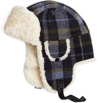 Brooks Brothers Wool Plaid and Shearling Trapper