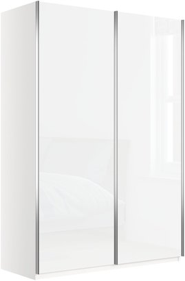 John Lewis & Partners Elstra 150cm Wardrobe with White Glass Sliding Doors