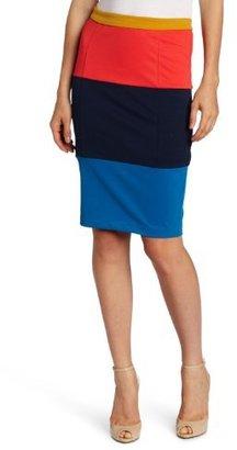 Luce C. Women's Colorblock Accent Knee Length Skirt