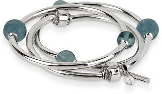 Kenneth Cole New York Bracelet Set, Silver-Tone Blue Bead Stretch Bangle Bracelets
