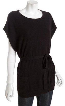 BCBGMAXAZRIA black lambswool belted scoop neck sweater