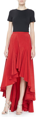 Michael Kors Arched-Hem Ruffled Skirt