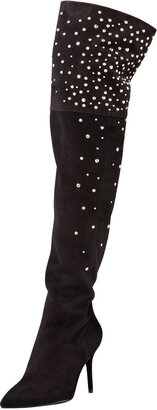 Brian Atwood Marija Studded Suede Over-the-Knee Boot