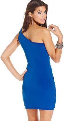 Ruby Rox Juniors' Rhinestone One-Shoulder Dress