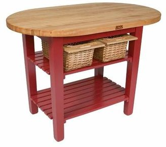 John Boos Eliptical C-Table Kitchen Island with Butcher Block Top Base Finish: Warm cherry stain, Shelves: Not Included