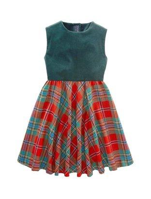 Oscar de la Renta Girls' Velvet And Plaid Dress