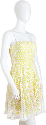 Betsey Johnson Eyelet Strapless Dress