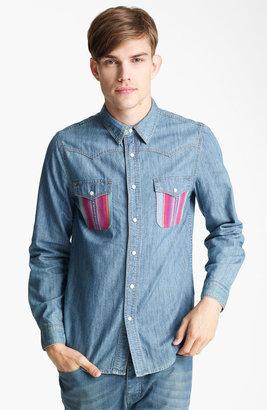 Topman Pattern Pocket Denim Shirt