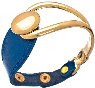 Andara Gold and Blue Leather Snap Cuff Bracelet