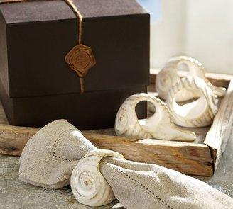 Pottery Barn Ceramic Shell Napkin Ring Gift Set