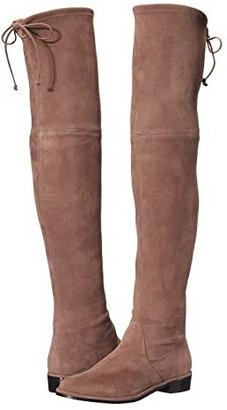 Stuart Weitzman Lowland Over the Knee Boot (Black Suede Stretch) Women's Pull-on Boots