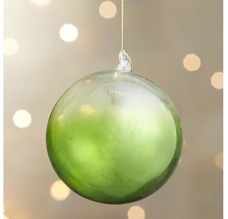 Crate & Barrel Green Global Dip Dyed Ball Ornament