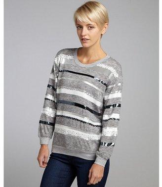 Aryn K heather grey sequin striped crewneck sweater