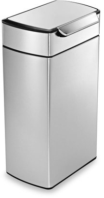 Simplehuman 40-Liter Rectangular Brushed Stainless Steel Touch Bar Trash Can