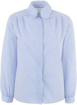 Unbranded St John's Senior School Girls Stripe Blouse, White/Navy