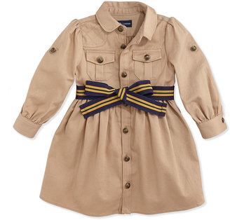 Ralph Lauren Long-Sleeve Belted Twill Dress, Vintage Khaki, 9-24 Months