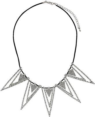 Topshop Silver Rhinestone Arrow Necklace