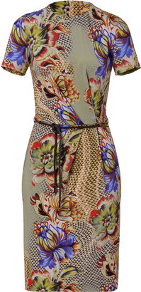 Etro Topaz/Amethyst Water Color Belted Dress