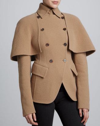 Donna Karan Double-Breasted Cutaway Jacket, Camel