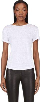 Alexander Wang White Linen & Silk Blend T-Shirt