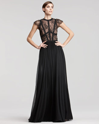 Elie Saab Cap-Sleeve Lace-Bodice Gown
