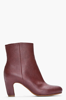 Maison Martin Margiela Mahogany brown Leather Ankle Boots