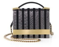 Brian Atwood Snake-Embossed Leather Ava Top-Handle Clutch
