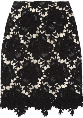 Lover Star crocheted floral cotton-lace pencil skirt